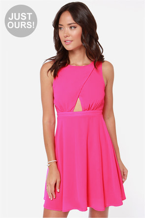 LULUS Exclusive Cutout to the Chase Hot Pink Dress