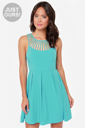 LULUS Exclusive Cage-ean Sea Turquoise Dress