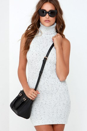 Glamorous Cozy On Over Light Grey Turtleneck Sweater Dress at Lulus.com!