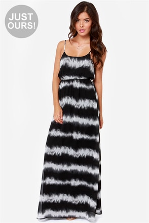 LULUS Exclusive Line Up Ivory and Black Striped Maxi Dress