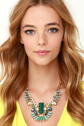Fans of Fancy Green Statement Necklace at Lulus.com!