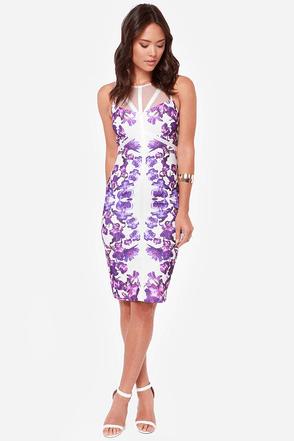 Lumier In Full Bloom Ivory and Purple Print Midi Dress