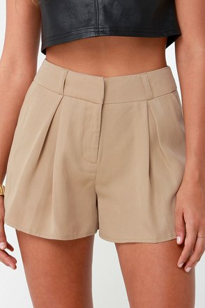 First Class Traveler Beige High-Waisted Shorts at Lulus.com!