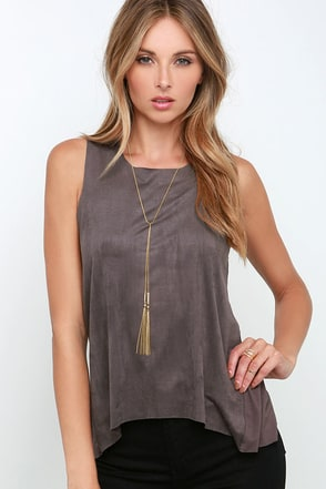 Get Suede Navy Blue Sleeveless Top at Lulus.com!