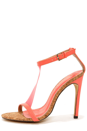 Golden 14 Coral T Strap Dress Sandals