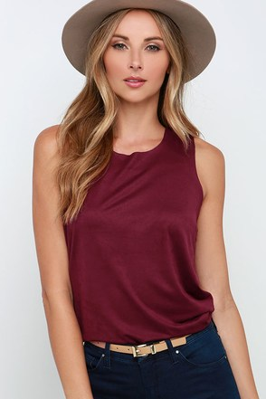 Get Suede Dark Sable Sleeveless Top at Lulus.com!