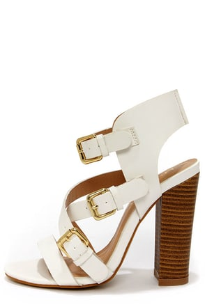 Sage 2 White Buckled High Heel Sandals