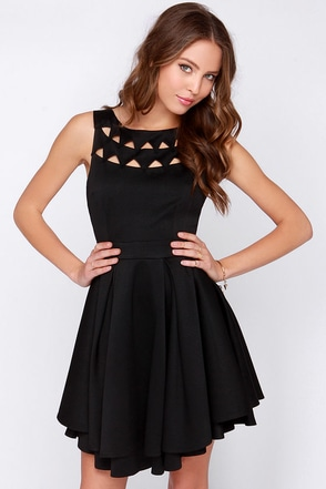 Flirting with Danger Cutout Black Dress at Lulus.com!