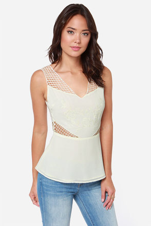 Much Ado About Netting Embroidered Cream Top