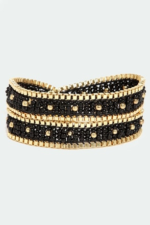 One Chance Beaded Black Wrap Bracelet