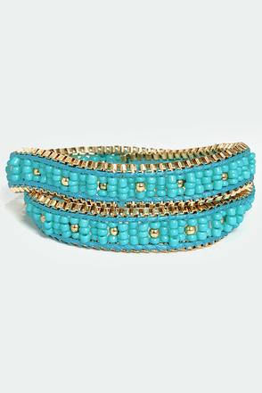 One Chance Beaded Turquoise Wrap Bracelet