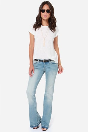 Blank NYC The Shoplifter Distressed Light Wash Flare Jeans