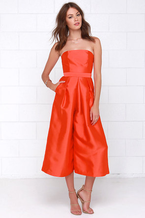 Cameo Living Proof Red Orange Midi Jumpsuit at Lulus.com!