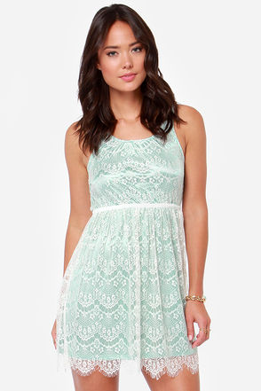 Others Follow Lana Mint and White Lace Dress