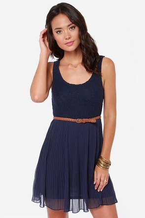 Others Follow Molly Navy Blue Lace Dress