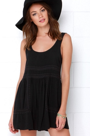 Obey Harrison Black Embroidered Mini Dress at Lulus.com!