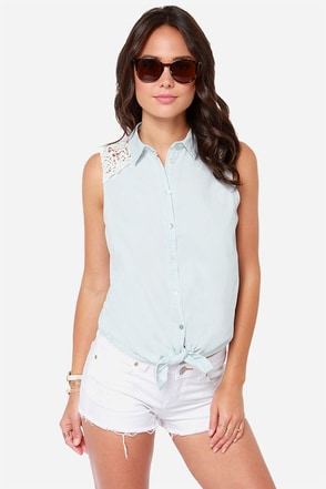 Others Follow Breeze Light Blue Lace Top