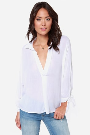 Olive & Oak Blouse Party Long Sleeve White Top