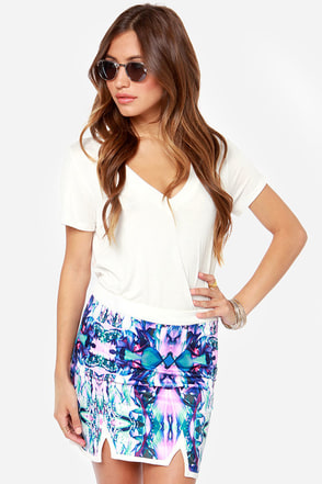 You and I Collide-oscope Purple Print Mini Skirt