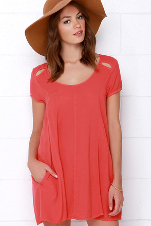 Obey Penelope Coral Red Swing Dress at Lulus.com!