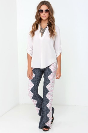 O'Neill Zena Navy Blue Print Pants at Lulus.com!
