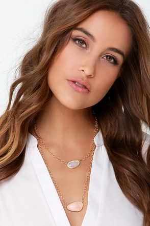 Off the Coast Gold Crystal Layered Necklace at Lulus.com!