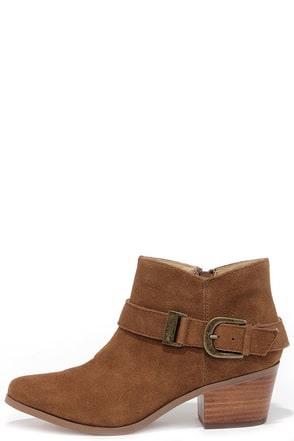 Kensie Colten Cognac Suede Leather Ankle Boots at Lulus.com!
