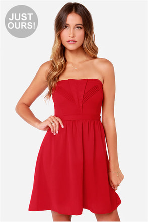 LULUS Exclusive Heart of the Matter Red Strapless Dress
