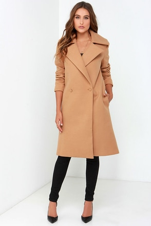 Cute Clothes For Women Over 50 With Hips Cameo No Limit Tan Coat at