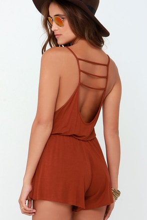 Lucy Love Pool Party Rust Red Romper at Lulus.com!