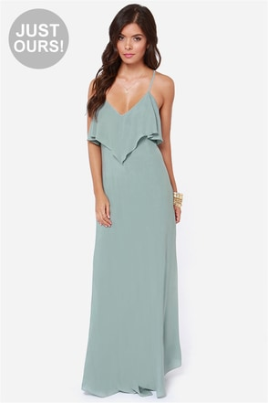 LULUS Exclusive Silent Lagoon Sage Green Maxi Dress