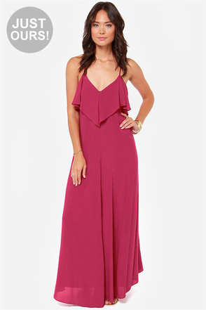 LULUS Exclusive Silent Lagoon Berry Pink Maxi Dress