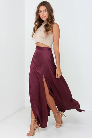 Rise of Dawn Split Second Burgundy Maxi Skirt at Lulus.com!