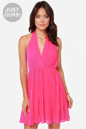 LULUS Exclusive My Marilyn Fuchsia Halter Dress