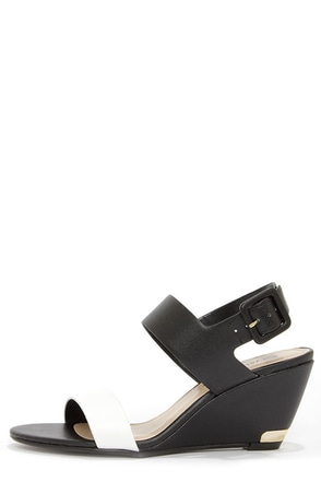 City Classified Camya White and Light Tan Wedge Sandals