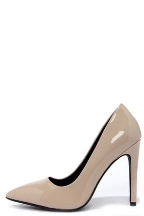 Glide and Stride Dark Beige Patent Pointed Pumps at Lulus.com!