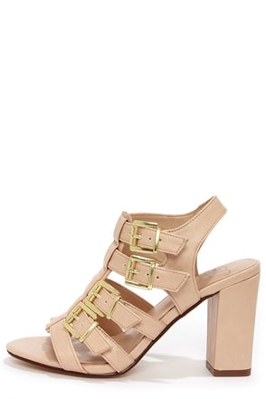 My Delicious Leggy Blush Caged High Heel Sandals