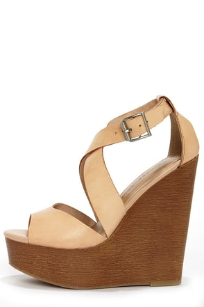 Chinese Laundry Java Hazelnut Leather Platform Wedge Sandals
