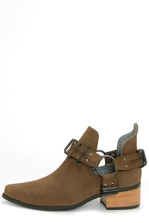 Grey City Willa Charcoal Cutout Ankle Boots