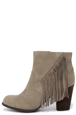 Madden Girl Descent Taupe Fringe Booties at Lulus.com!