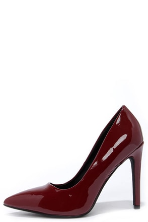Glide and Stride Burgundy Patent Pointed Pumps at Lulus.com!
