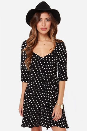 For Love & Lemons Austin Black Floral Print Dress