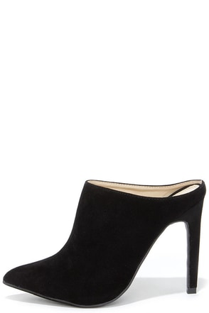 Nice Profile Black Suede Pointed Mules at Lulus.com!