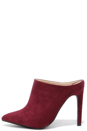 Nice Profile Burgundy Suede Pointed Mules at Lulus.com!