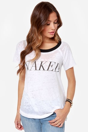 Chaser Naked Distressed White Burnout Tee
