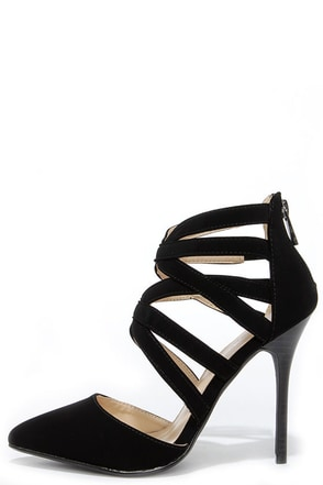 Anne Michelle Spiral 30 Black Suede Caged High Heels at Lulus.com!