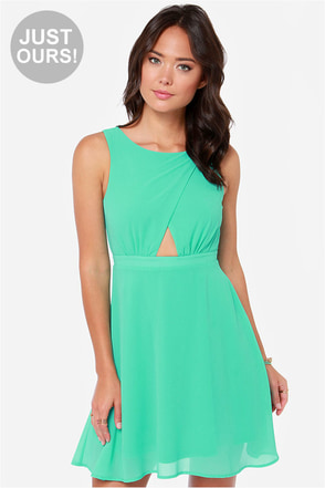 LULUS Exclusive Cutout to the Chase Sea Green Dress