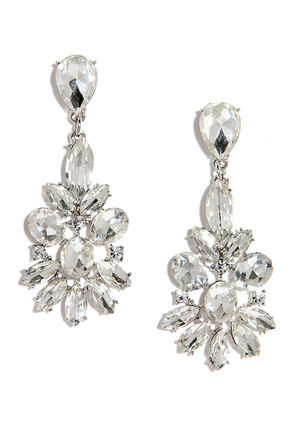 Inclined to Shine Silver Rhinestone Earrings at Lulus.com!