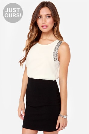 LULUS Exclusive Bring the Bling Beaded Cream Top