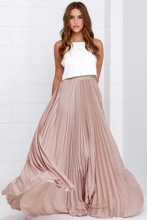 Back in a Minute Beige Maxi Skirt at Lulus.com!